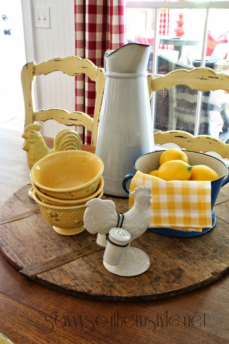 sweet country table with yellow accents