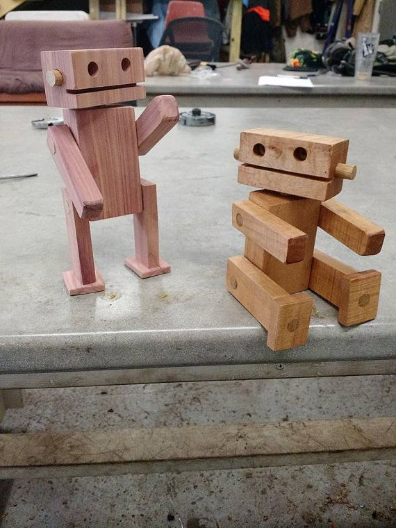 Eco – Friendly reclaimed scrap wood robot toy