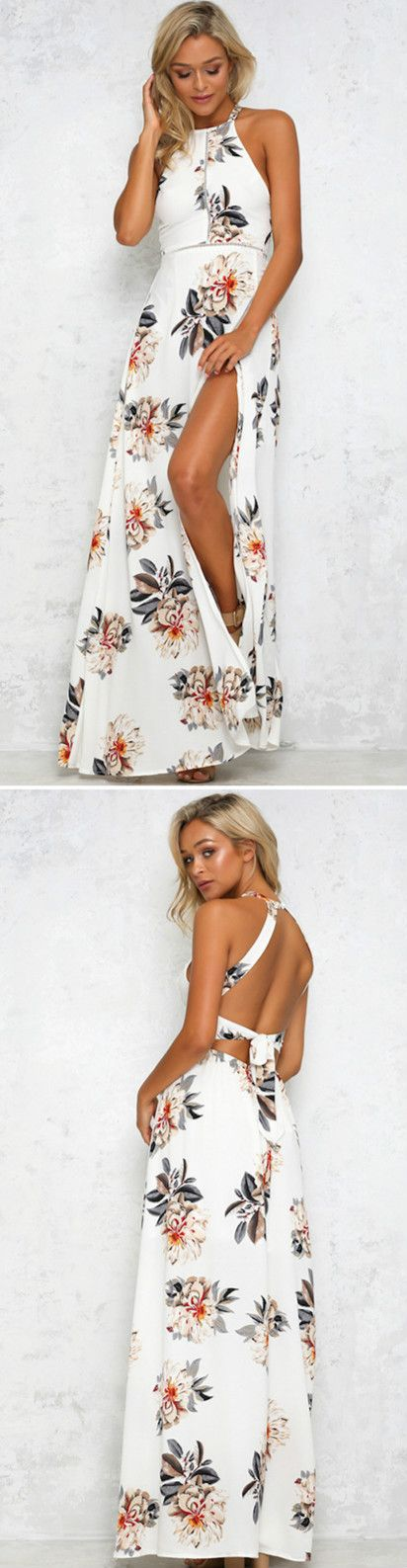 Elegant Halter Neck Floral Print Maxi Dress