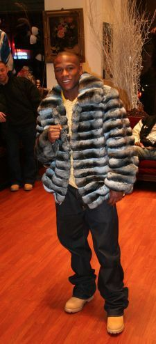 Certain fashion fur jackets hit above their weight class. Marc Kaufman Furs delivers the knockout everytime. Floyd Mayweather sports a  blue chinchilla fur bomber jacket from Marc Kaufman Furs. Winner by knockout and still undefeated...Marc Kaufman Furs.