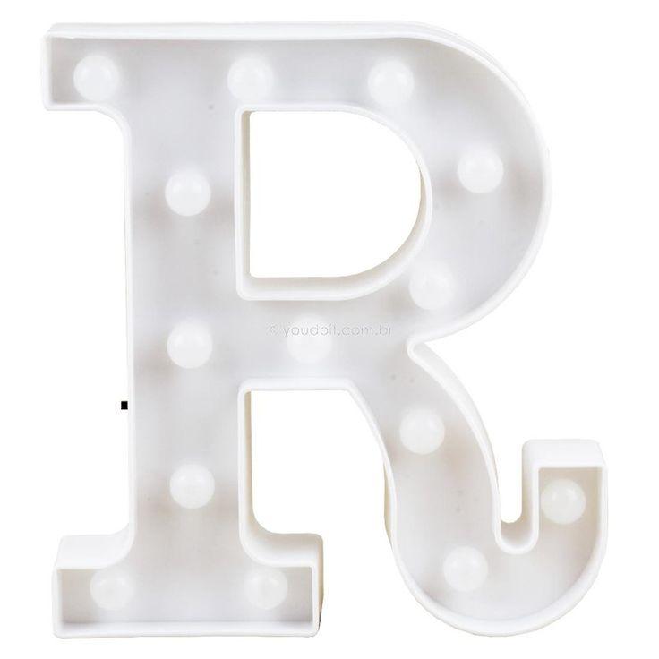 "Letra Luminosa Led 3D a Pilha ""R"" (22cm)"
