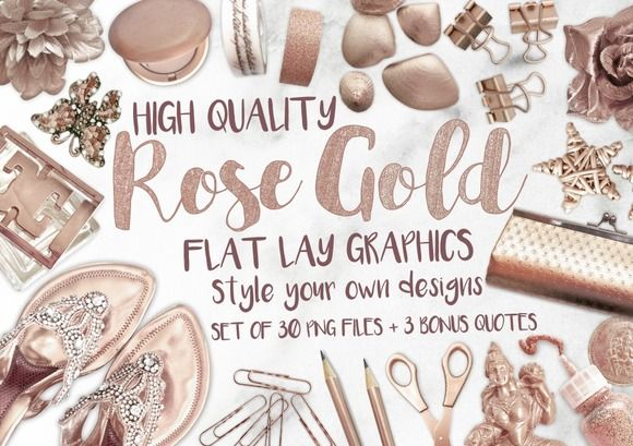Rose Gold Flat Lay Graphics by MyCosmicShop on @creativemarket