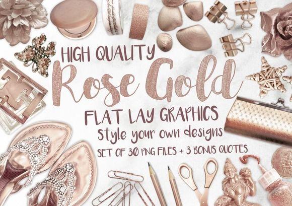 Rose Gold Flat Lay Graphics by MyCosmicShop on @creativemarket