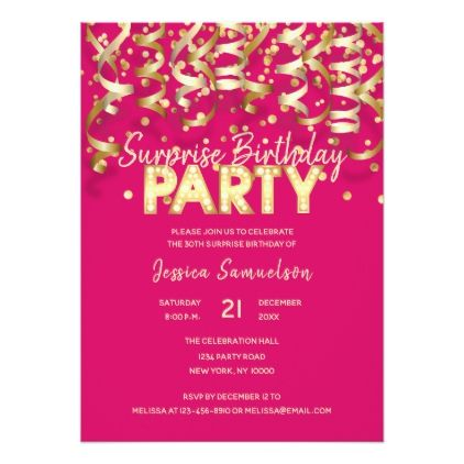 Gold Hot Pink Streamer SURPRISE BIRTHDAY PARTY Card - gold gifts golden customize diy
