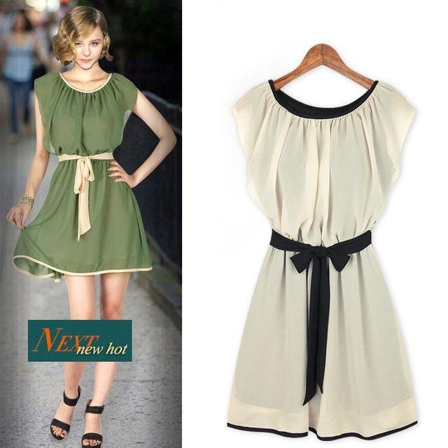 Romantico verde delle donne del vestito chiffon vacanza estiva, semplice bow-knot donne ginocchio-lunghezza del vestito per la spiaggia, vestito da estate delle signore