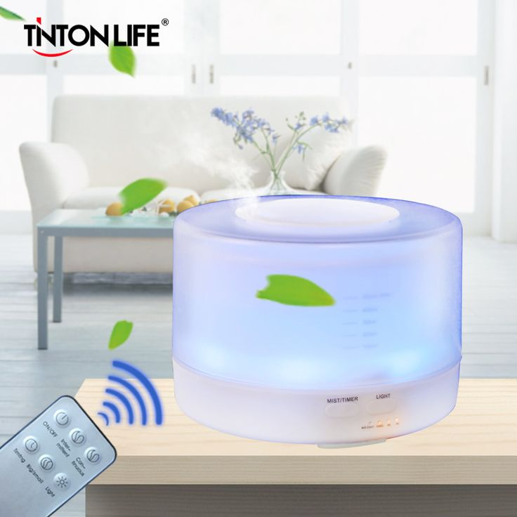 500ml Remote Control Colorful LED Light Aromatherapy Air Humidifier Ultrasonic Mist Maker Wood Aroma Lamp Essential Oil Diffuser