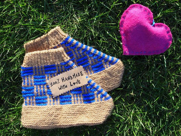 Wool slipper socks unisex handknit handmade in Bosnia LIGHT BROWN / BLUE colours di LovingBalkans su Etsy