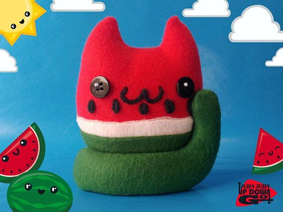 Kawaii Watermelon Cat Food Plushie, Cute Stuffed Fruit Cat, Kawaii Plush Fruit Gifts #handmade #handmadeplushie #cats #catlovergift #catlover #catplushie #stuffedanimals #plushies #plushiemaker #CuteCats #kawaiifood #kawaii #kawaiicat #cutekawaii #kawaiiplushie #fruits #watermelon #watermelonplushie #kawaiiwatermelon