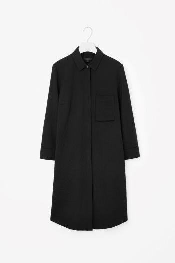 COS image 2 of Wool shirt dress in Black