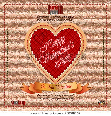 vintage happy valentines day background with by my valentine text on ribbon vintage linen - Valentines Day Texts