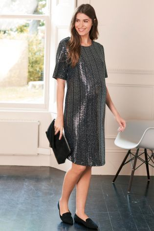 Silver Maternity Sequin Dress. See more at http://www.parentideal.co.uk/next---maternity-dresses.html or visit click on link to visit shop direct to view current prices. #MaternityClothes #PregnancyClothes #PregnancyClothing #Next #NextMaternity #MaternityDresses #MaternityDress #PregnancyDresses #NursingDresses #Maternitywear #MaternityClothing