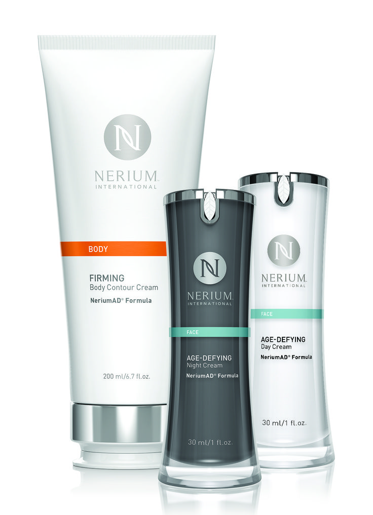 Three Nerium products, one unbeatable price! Age-Defying Night and Day Creams, NeriumAD® Formula provide 24 hours of age-fighting skincare. Firming Body Contour Cream, NeriumAD Formula targets problem areas including love handles, stomach, thighs and upper arms. Each product features the powerful, proprietary NAE-8® extract.