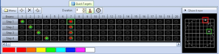 QuickTargets creates a sequence of beams, which are aimed at bounce mirrors, diffraction gratings, or other targets.    The target locations are set up using a separate screen, the QuickTargets Beam Settings dialog. In fact, you will not see the QuickTargets tab or controls until you have set up the QuickTargets Beam Settings dialog.    The controls below let you set the sequencing of when the targets are hit, such as making a chase. In addition, you can specify the color of the beam…