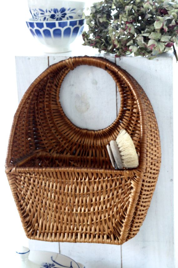 Vintage French wicker basket, very old. French antic braided basket 1950s…