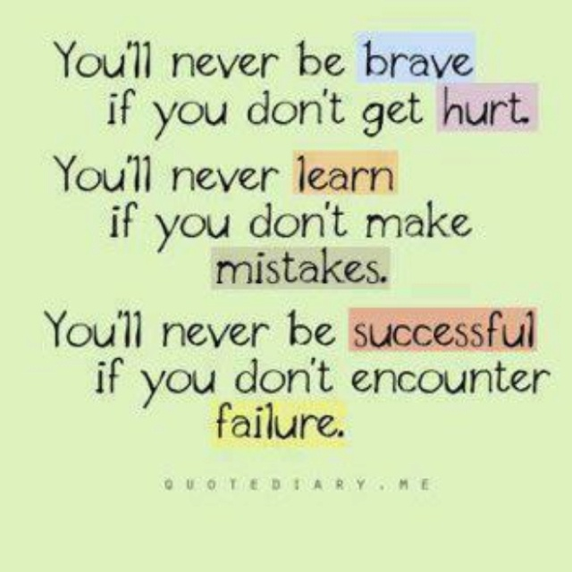 Inspirational Quotes About Failure: Brave Hurt Learn Mistake Success Failure