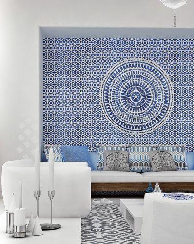 Salon marocain, style marocain, carreaux ciment blanc et bleu, Lovely Market ♥ #epinglercpartager