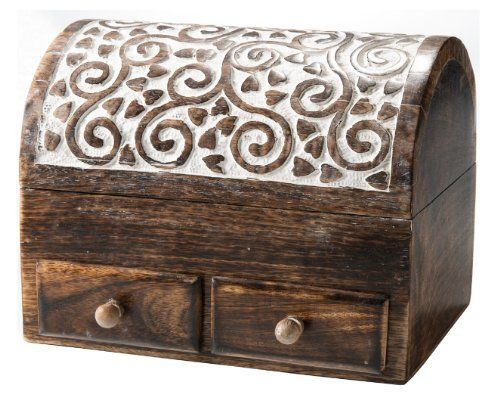 Domed Mango Wood Chest With Drawers White Washed Heart And