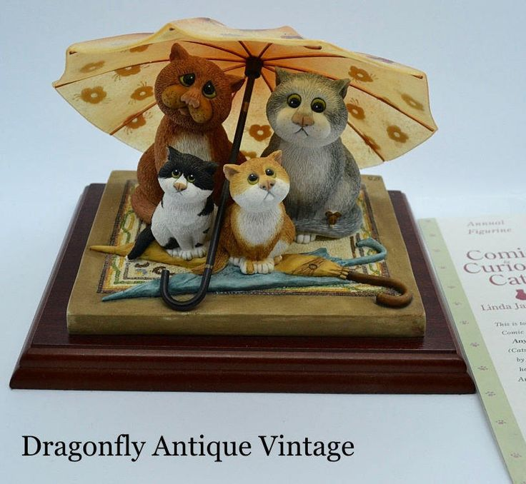 Superb Linda Jane Smith Comic Curious Cats ANY UMBRELLA Limited Edition Figurine by DragonflyVintageChic on Etsy