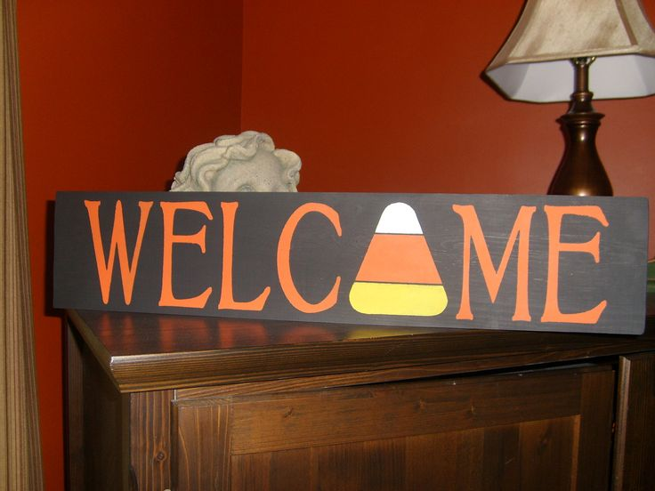 Primitive Welcome Candy Corn Wood Sign for Halloween, Fall Holiday, Thanksgiving, Home Decor Shelf Sitter. $14.95, via Etsy.