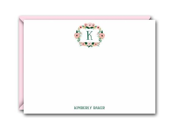 Thank You Notes Correspondence Card Stationery Personalized Card Stationary Classic Monogram Flat Notecards FLAT CARDS