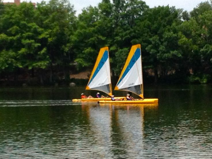 Our Hobie Adventure Islands are tandems and are super easy to learn how to sail.  They come with mirage pedals, so if the wind dies, you can still navigate around the lake.