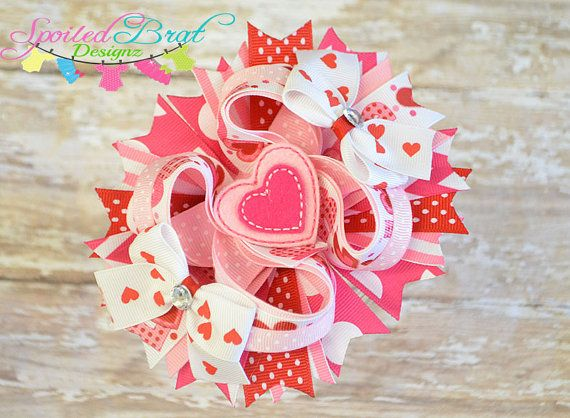 Valentine Heart Stacked Hairbow Ready to by spoiledbratdesignz, $10.50