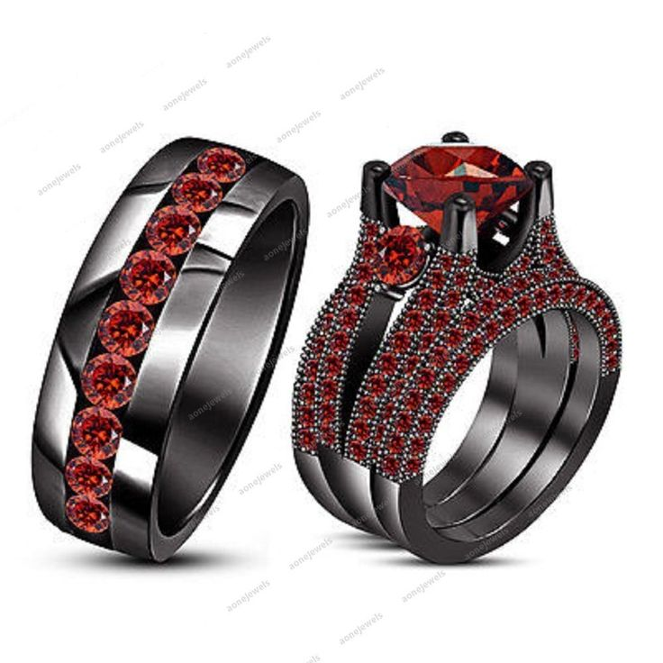 New Engagement Wedding Trio Ring Set Round Red Garnet 925 Silver Black Gold Over #aonejwels