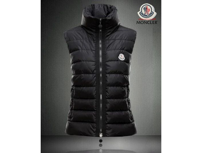 2013 Moncler Chic Stand Collar Down Vests Black - :