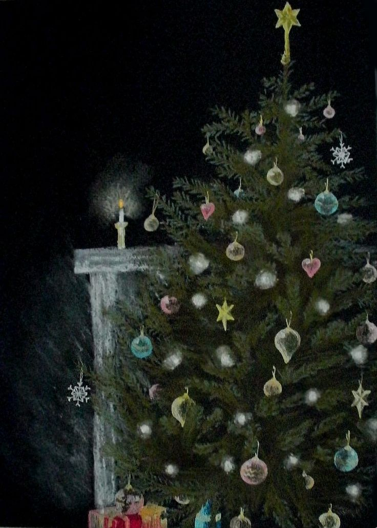 Christmas Greetings card. Decorated Christmas tree, pastels and gel pens on black card.