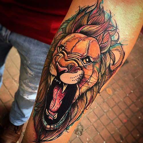 cartoon lion tattoo galatasaray aslan dövmesi