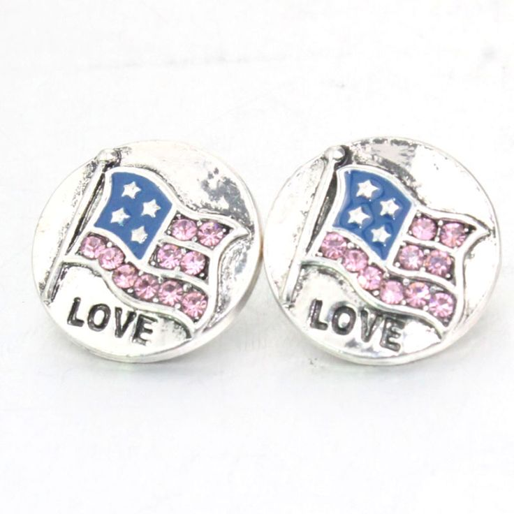 M755 Love USA Flag American Metal  18mm snap button for male bracelet  watches women jewelry one direction
