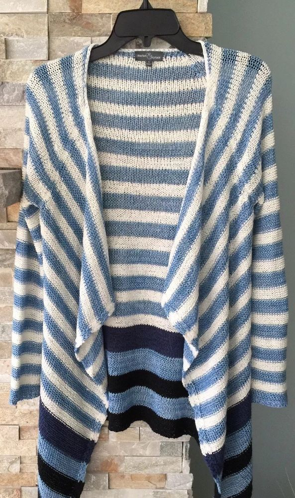 9b76a3f11f Market   Spruce Waterfall Knit Open Cardigan Small Blue White Striped  Preowned  fashion