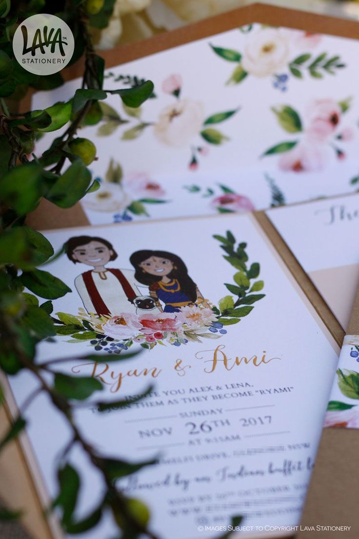 Here is the inside of the pocket invitations made for my lovely sister  I can't call myself a calligrapher but I did try my hardest to legibly handwrite their names in gold ink ✒️. I also have my gorgeous cousin @kausinoodles to thank for the original illustration.  •••  #PocketInvitations #KraftPocket #LavaStationery #FloralInvitations #GardenWedding #BackyardWedding #LawnParty #EnvelopeLiner #FloralEnvelopeLiner #KraftEnvelope #BellyBand #SydneyWeddingStationery #SupportSmallBusiness