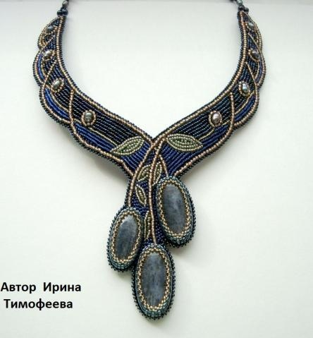 Bead embroidered necklace with 3 bezeled cabochons.