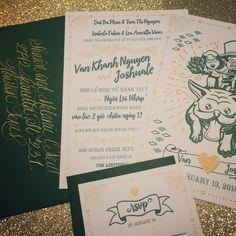 Wedding Invitation Set | Bilingual (English & Vietnamese) | Dry gold ink on Savoy Cotton 118# paper • Illustration by @joshualeev • Calligraphy by @Afineflourish
