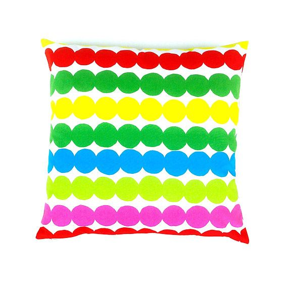 Marimekko Multicoloured Cushion. Bright Abstract Design. Retro