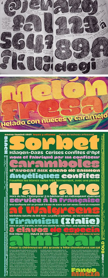 http://myfonts.us/aPz0XQ Magola is a creamy flavor font family whose purpose is to season with emotions the reading of words and phrases formed by puffy glyphs coated with a caramel of empty spaces external and internal.