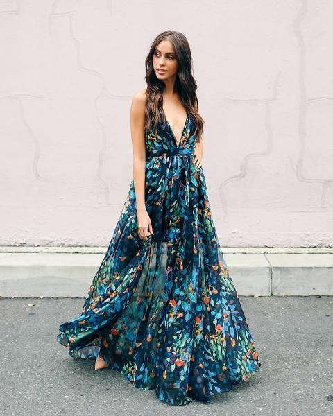 Indigo Skies Floral Maxi Dress