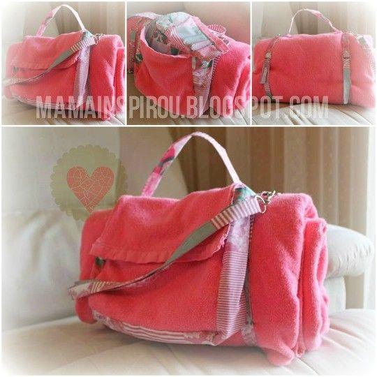 Toalha bolsa de Praia (Beach Towel Bag in Pink to diy)