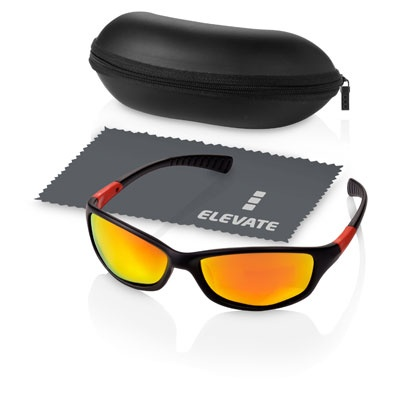 Lunettes De Soleil - Tarifs sur devis (contact@objetpubenligne.com) -  TO1076777 Lunettes sport Elevate. Ces lunettes de soleil aux verres polarisés (ils atténuent aussi les reflets sur les surfaces réfléchissantes telles que la neige, l'eau mais aussi les pare-brises de voiture) Plus d'informations: http://objetpubenligne.tendanceobjet.com/detail/408112-lunettes-de-soleil