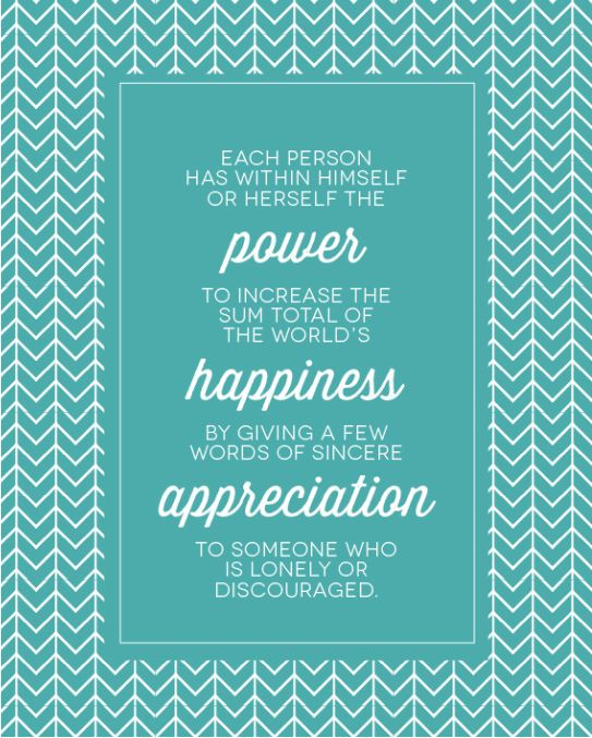 """I love this quote by Kristen Duke Photography, she writes: """"Each person has within himself or herself the POWER to increase the sum total of the world's HAPPINESS by giving a few words of sincere APPRECIATION to someone who is LONELY or DISCOURAGED."""" Being Thankful and Showing Gratitude goes a long way in my book! Here are 50 Ways to Show Gratitude for the People in Your Life @ http://tinybuddha.com/blog/50-ways-to-show-gratitude-for-the-people-in-your-life/"""