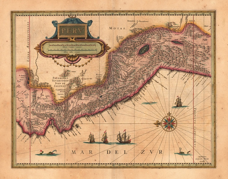 Peru, 1640. With green and red sea monsters patrolling the Pacific ocean!1640 Peru, Red Sea, Monsters Patrol, Lost Lore, Easter Islands, Antiques Maps, Pacific Ocean, Sea Monsters, Rare Maps