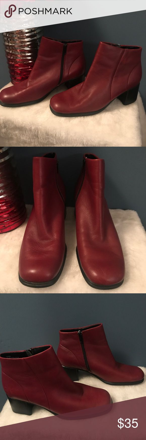 Andrea Viccaro Red Leather boots ❤️ Super classy leather boots. In good condition, minimal wear. A few minor areas that are faded as seen in last pic nothing major. Inside labels peeling. ❤️Take a look at our entire store  ❤️ We ship within 24 hours ❤️100% customer satisfaction rating ❤️Customer service always here to help ❤️Send us offers, we love Bundles also.                                      ❤️We are an Online Clothing Company  Thanks for shopping at DuttyKangaroo. You are…