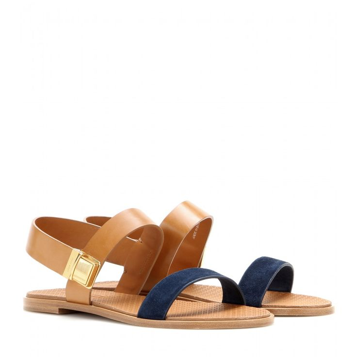 Miu Miu - Leather and suede sandals - Miu Miu adorns a simple summer sandal with a clip fastening for a typically unusual touch. We love the way it subtly ties in with the rest of the collection, plus the delicate edge it adds to these leather beauties. Wear them out for casual lunch engagements or as part of an understated evening ensemble. seen @ www.mytheresa.com