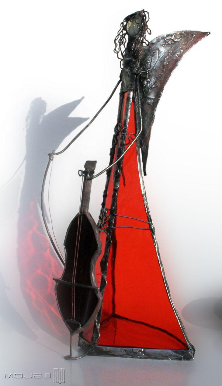 Bialode. Anioł z wiolonczelą / Angel with cello. Witraż Tiffany / Tiffany Stained Glass. Glass Angel. Dekoracje do domu. Moje MW