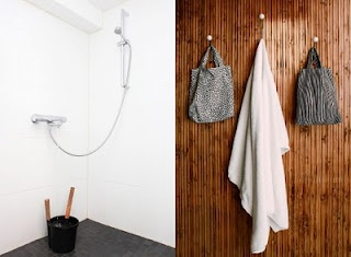 Functionalist inspired shower and sauna changing areaInspiration Shower
