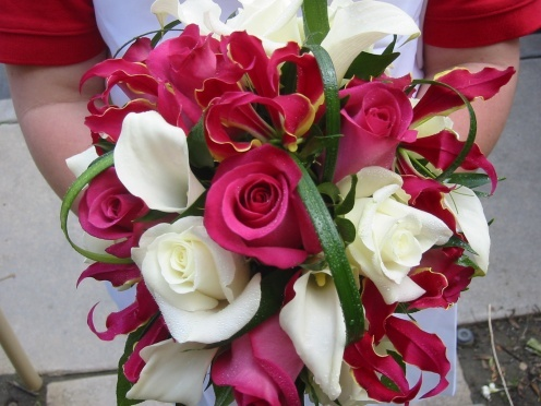 Roses, Calla lilies, Gloriosa lilies, Bridal Bouquet