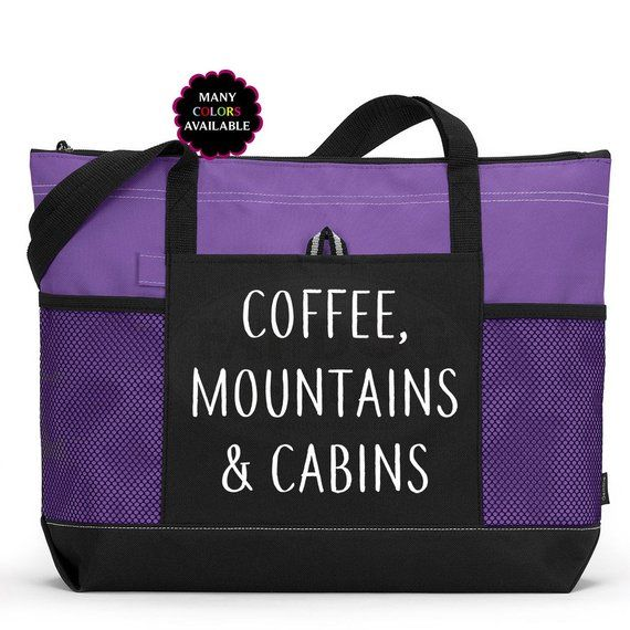 Coffee Mountains And Cabins Custom Zippered Tote Bag Gym Adventure Laptop Yoga Camping Gift Lover