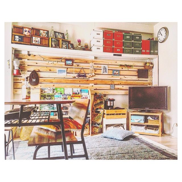 nikaさんの、部屋全体,ダイソー,フォトフレーム,DIY,seria,西海岸,DIY板壁,壁板,ディアウォール,ニトリのラグ,サーフスタイル,西海岸インテリア,カリフォルニア風,海を感じるインテリア,のお部屋写真