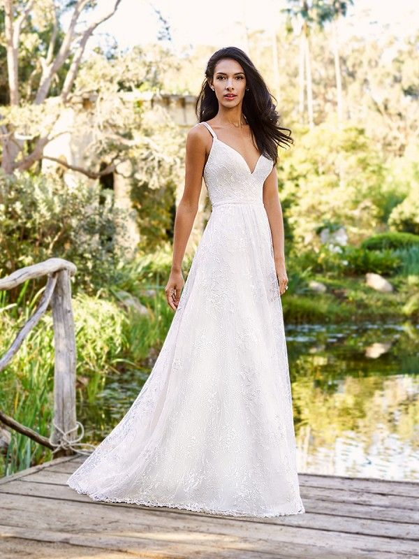 Moonlight Collection J6573 stretchy romantic A-line lace wedding dress with straps and beaded natural waist